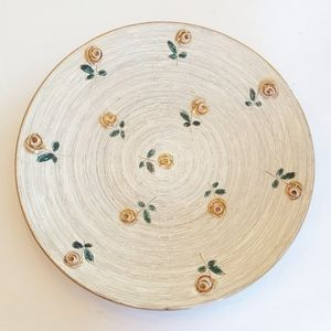 Floral print circle dish decor home